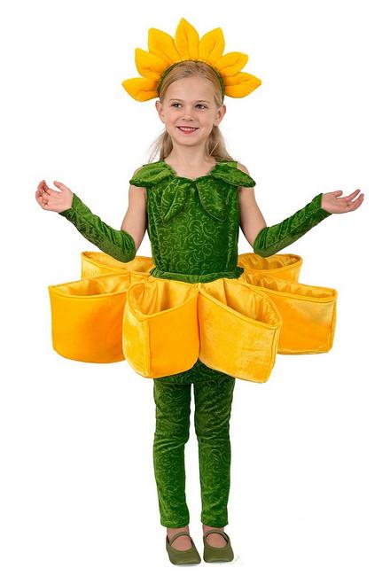 Costume Tournesol Poches Pétales pour Fille
