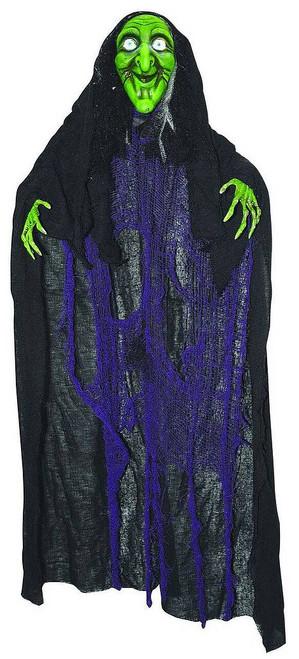 Décoration Halloween Sorcière Verte Sons et Lumière Suspendue de 72 Pouces