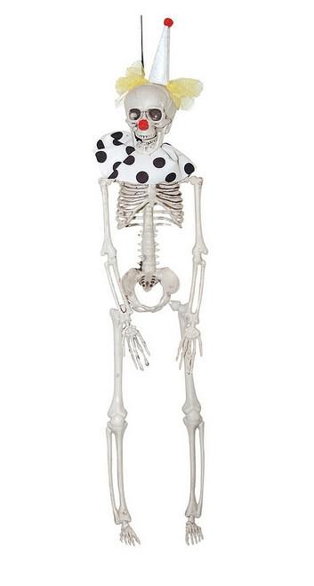 Décoration Halloween Squelette Suspendu de Clown Blanc de 16 Pouces