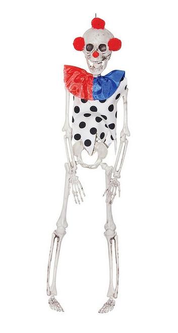 Décoration Halloween Squelette Suspendu de Clown Bleu et Rouge de 16 Pouces