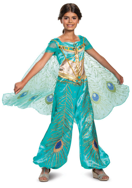 Costume Jasmine Turquoise Deluxe pour Fille Aladdin