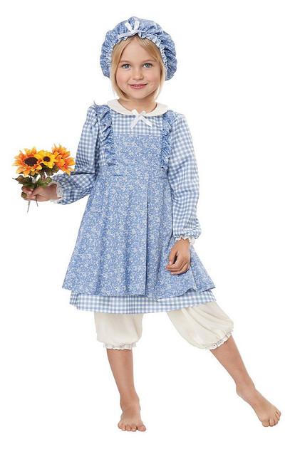 Costume de Paysanne Petite Fille des Prairies Bleu