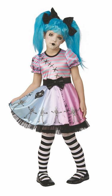 Costume de Petite Poupée Squelette Bleue
