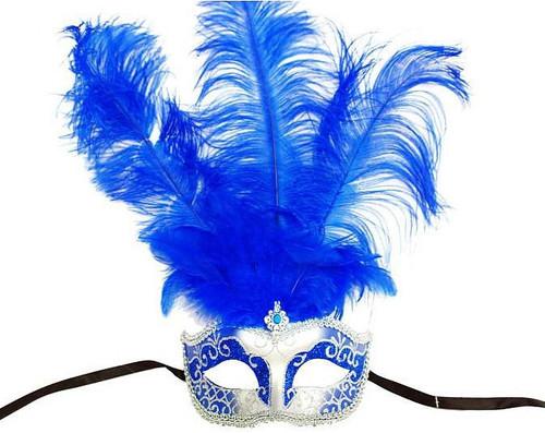 Masque Bleu avec Plumes Centrales