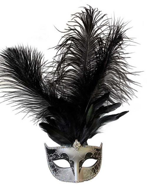 Masque avec Plumes Centrales Noire/ Argenté