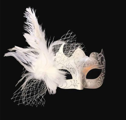 Masque Mascarade Blanc et Argent