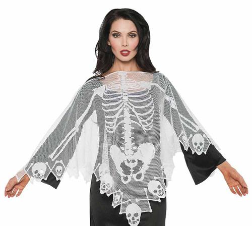 Costume Poncho Squelette en Dentelle