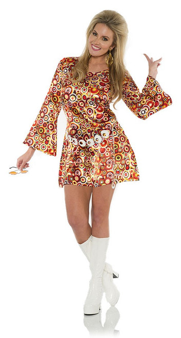 Costume Disco Mini Robe avec Cercles
