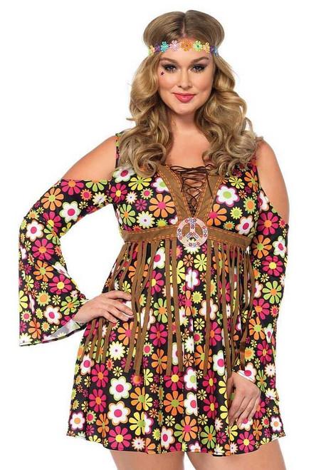 Costume de Hippie aux Fleurs pour Femmes Plus