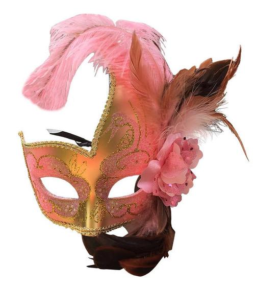 Masque Vénitien avec Plume Rose Pastel