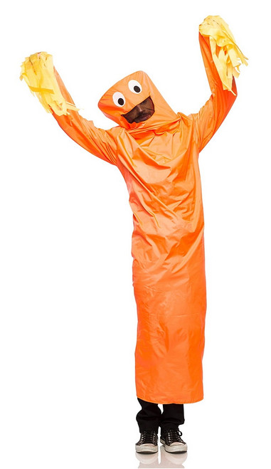 Costume de Bonhomme Tube Orange Ondulant Adulte