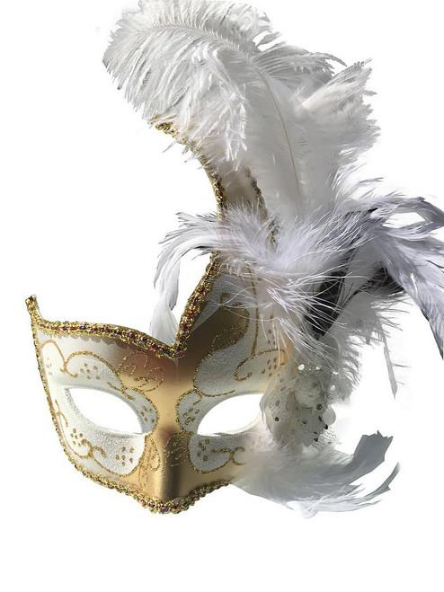 Masque Vénitien avec Plume Or et Blanc
