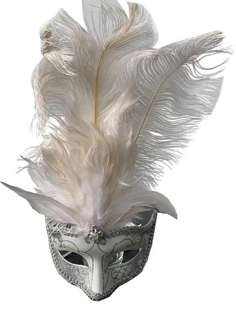 Masque avec Plumes Centrales Blanc