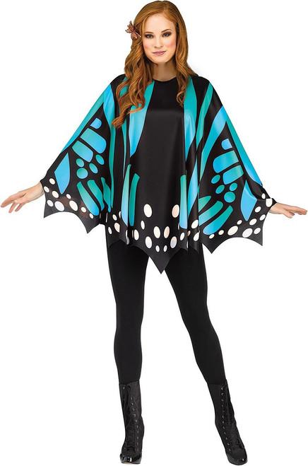 Deguisement Poncho Papillon Monarque Bleu pour Femme