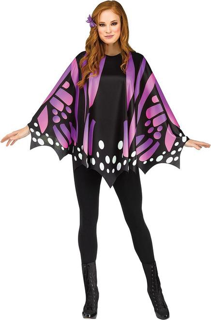 Deguisement Poncho Papillon Monarque Violet pour Femme