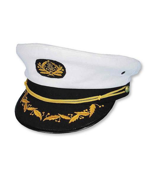 Casquette de Capitaine Blanc et Bleu Marin Yacht Cap