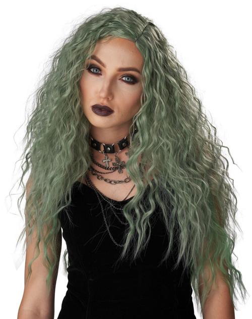 Perruque Enchantee Verte Grise pour femmes