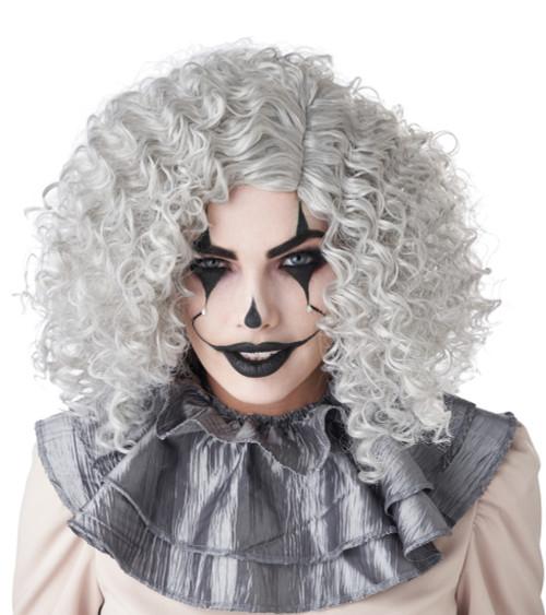 Perruque Tire-Bouchon de Clown Grise accessoires femme