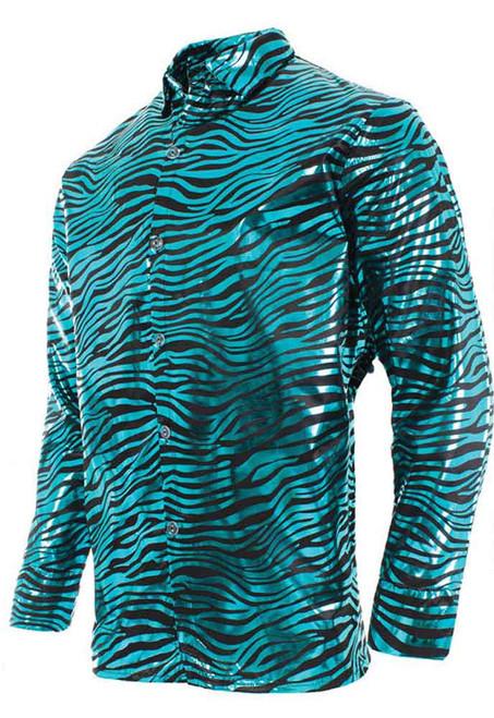 Chemise bleu roi tigre metallise