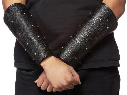Armure de poignet de guerrier en similicuir