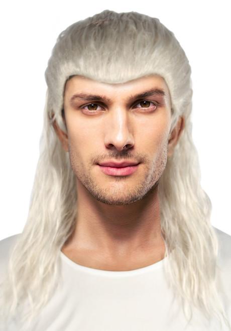 Perruque Witcher blanche pour homme