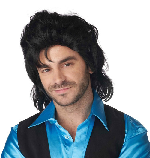 Full House Mullet Black Wig