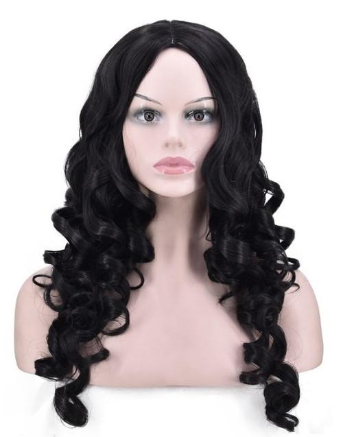 Perruque Noire Longue Ondulée pour Femmes