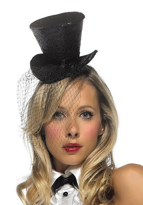 Mini Chapeau avec Haut à Paillettes avec Voile - Noir