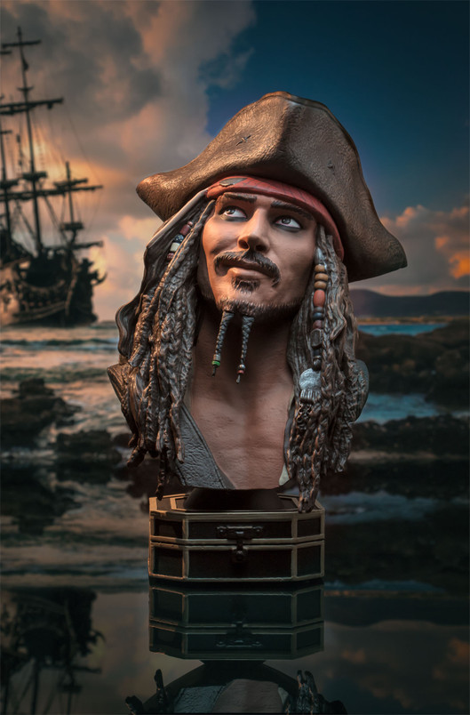 Pirates of the Caribblean Jack Sparrow Legends in 3-Dimensions 1:2 Scale Bust