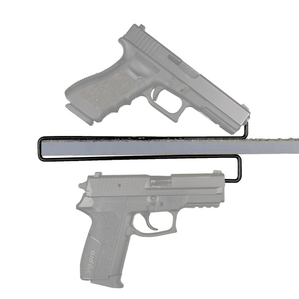 over-under handgun hangers, handgun organization side view