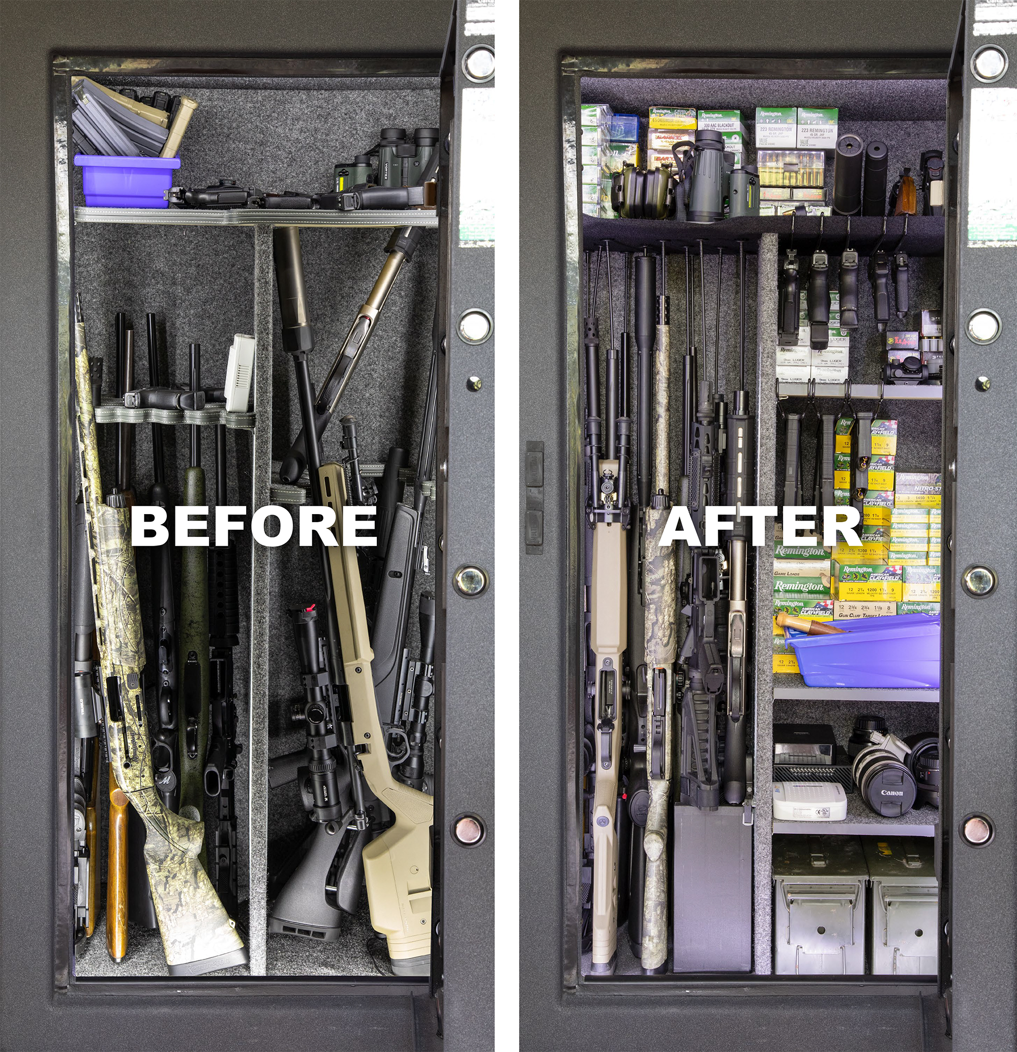 gun safe organization rack