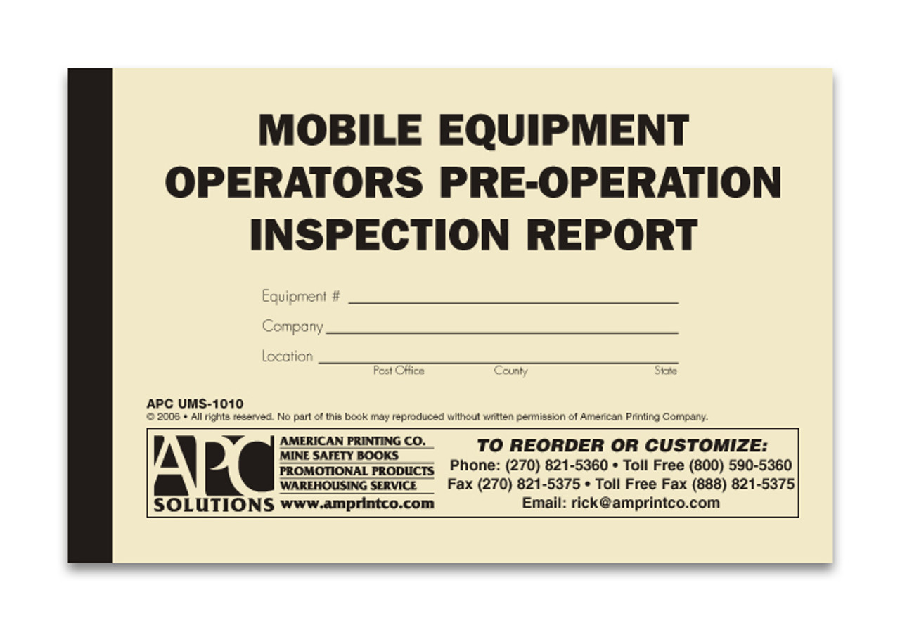 Mobile Equipment Checklist