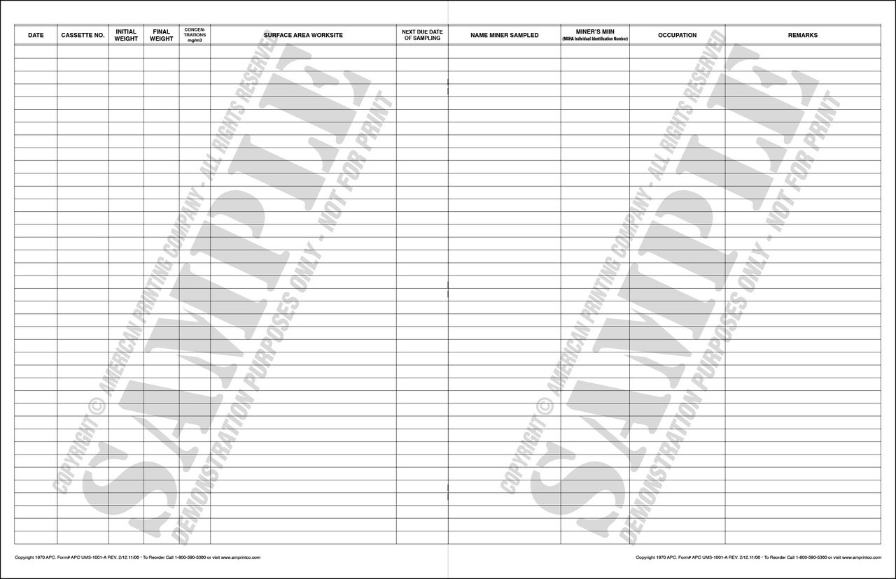 APC UMS-1001-A: Respirable Dust Sampling Record Book (Surface)