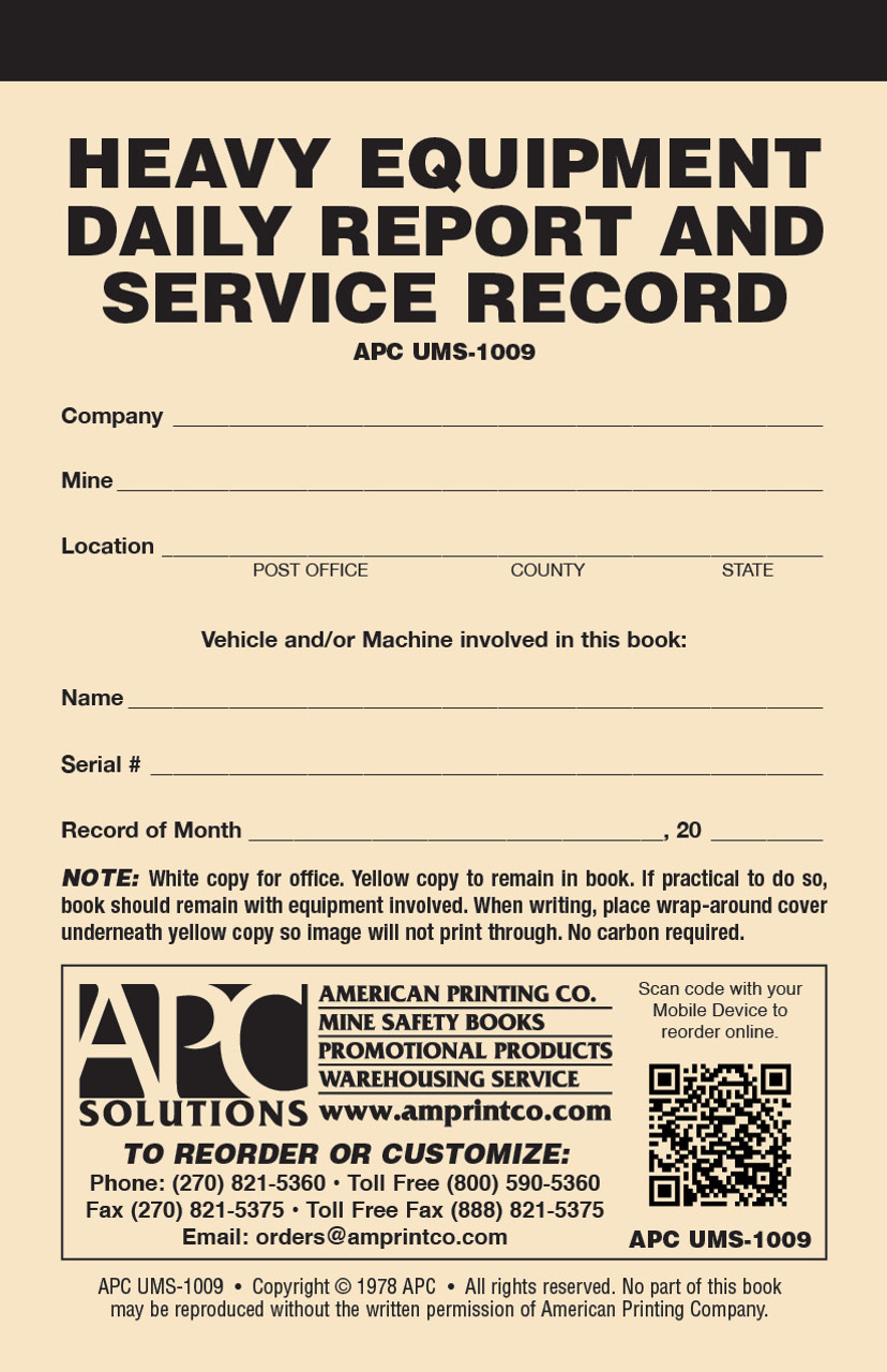 APC UMS-1009: Heavy Equipment Daily Report & Service Record   Heavy Equipment Inspection Checklist — Front Cover View