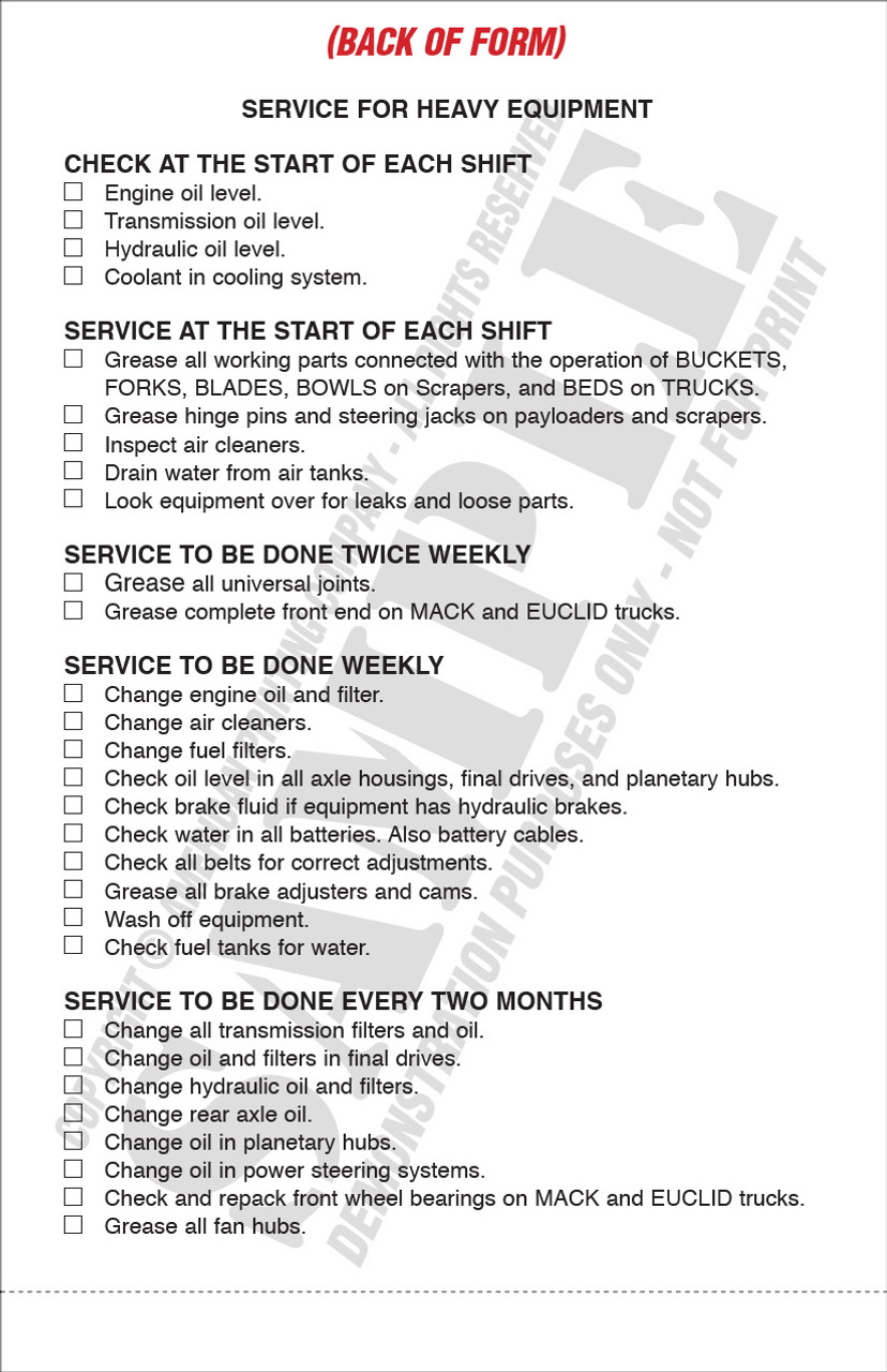 APC UMS-1009: Heavy Equipment Daily Report & Service Record   Heavy Equipment Inspection Checklist — Form View, Back (when form is flipped up)