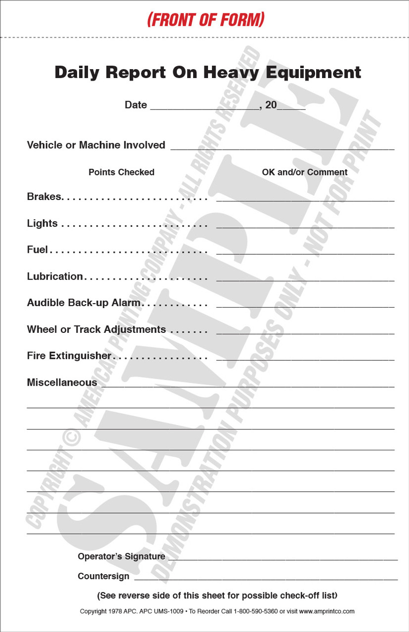 APC UMS-1009: Heavy Equipment Daily Report & Service Record   Heavy Equipment Inspection Checklist — Form View, Front