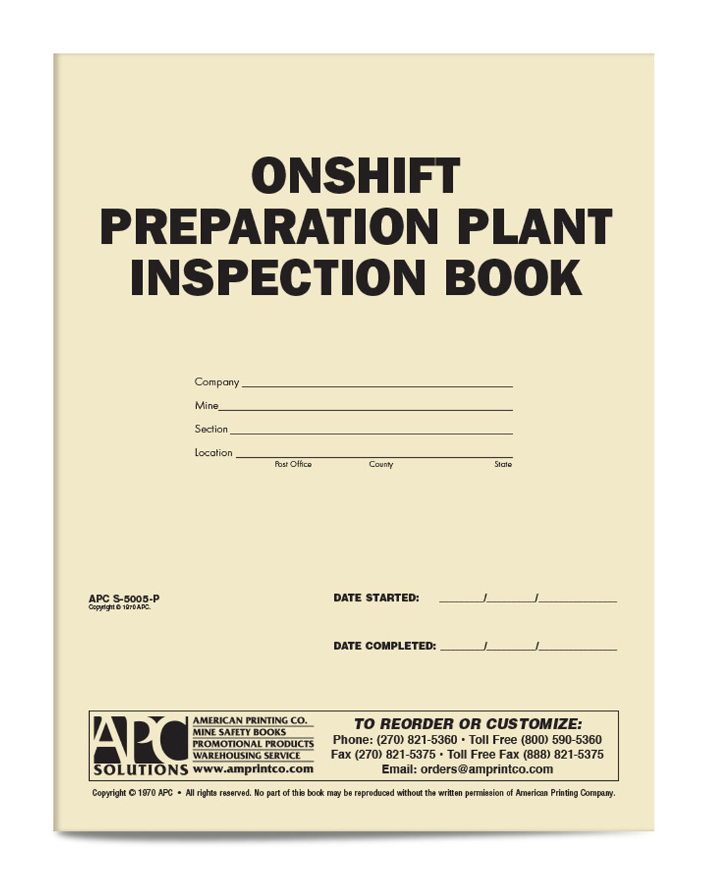 APC S-5005-P: On-Shift Preparation Plant Inspection Book
