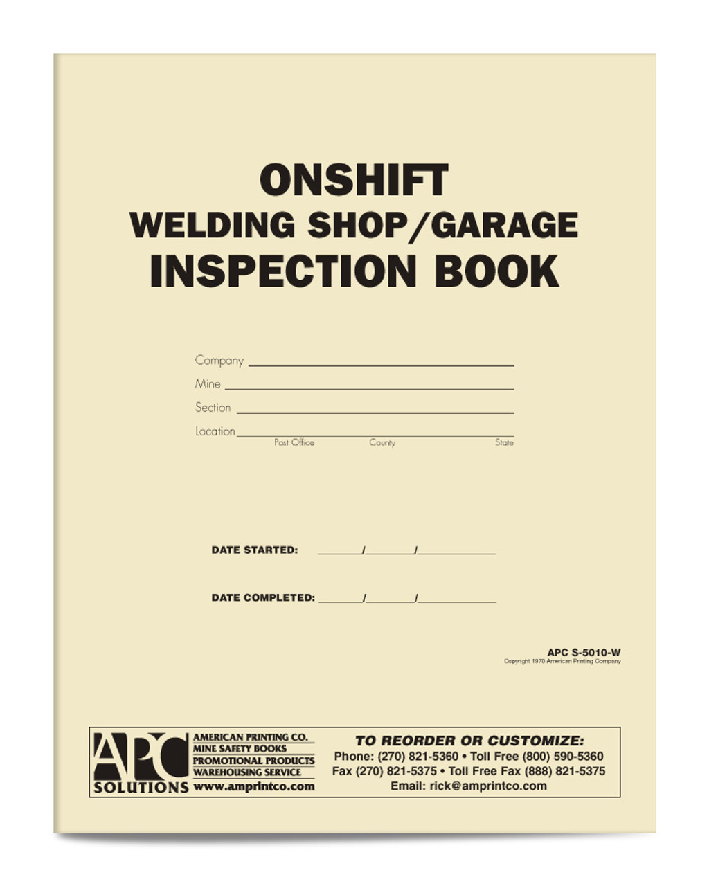 APC S-5010-W: Onshift Welding Shop/Garage Inspection Book