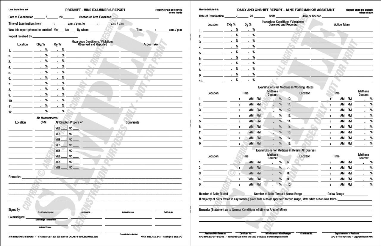 APC 6-1489: Pre-shift On-shift & Daily Report