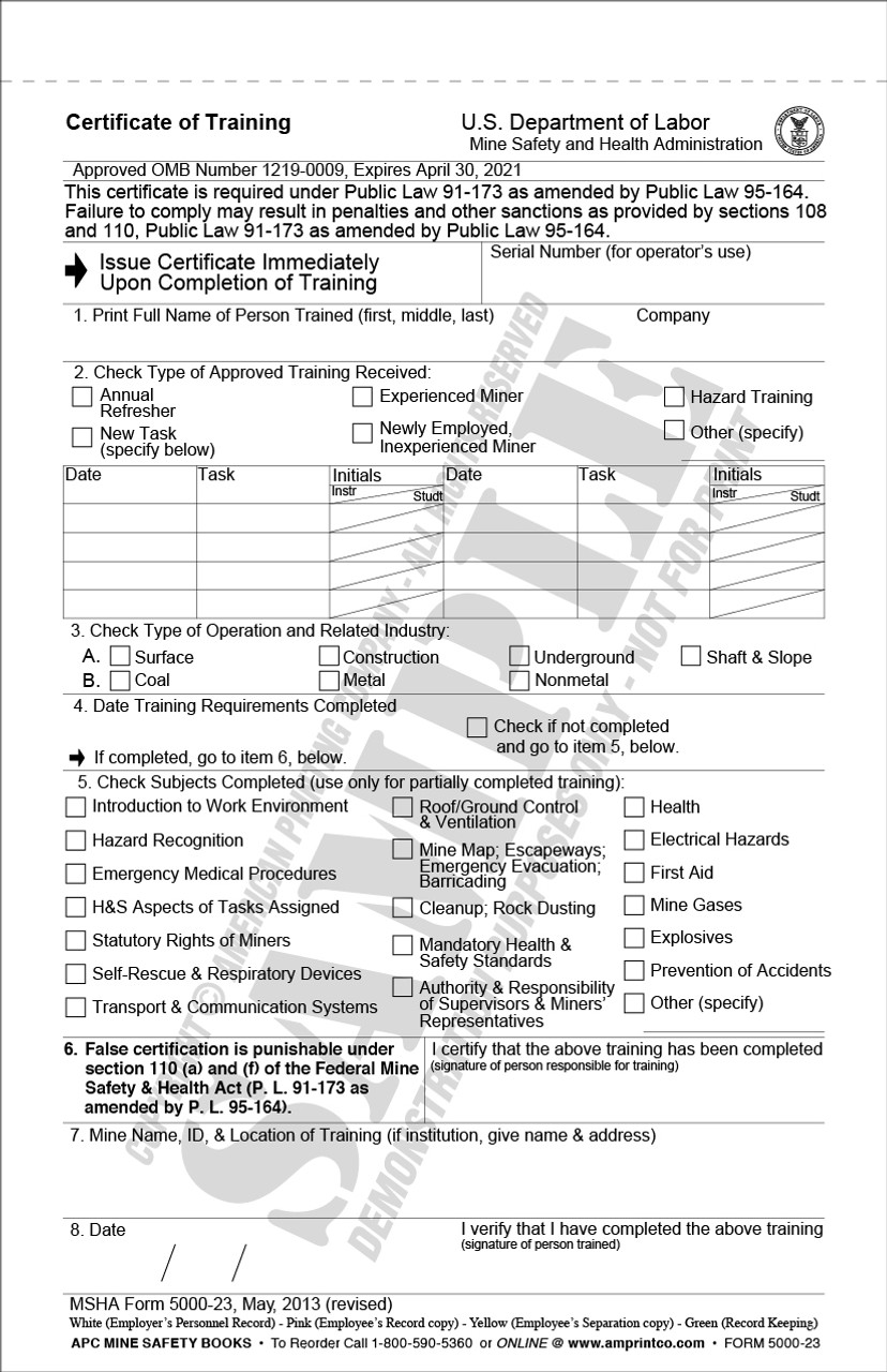 APC 5000-23 MSHA Certificate of Training form.