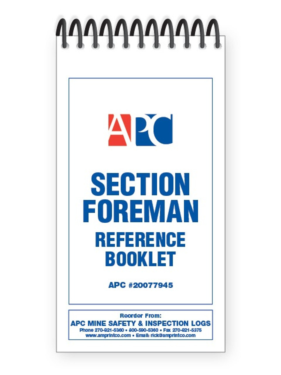 APC 20077945: Section Foreman Pocket Notebook & Reference Booklet