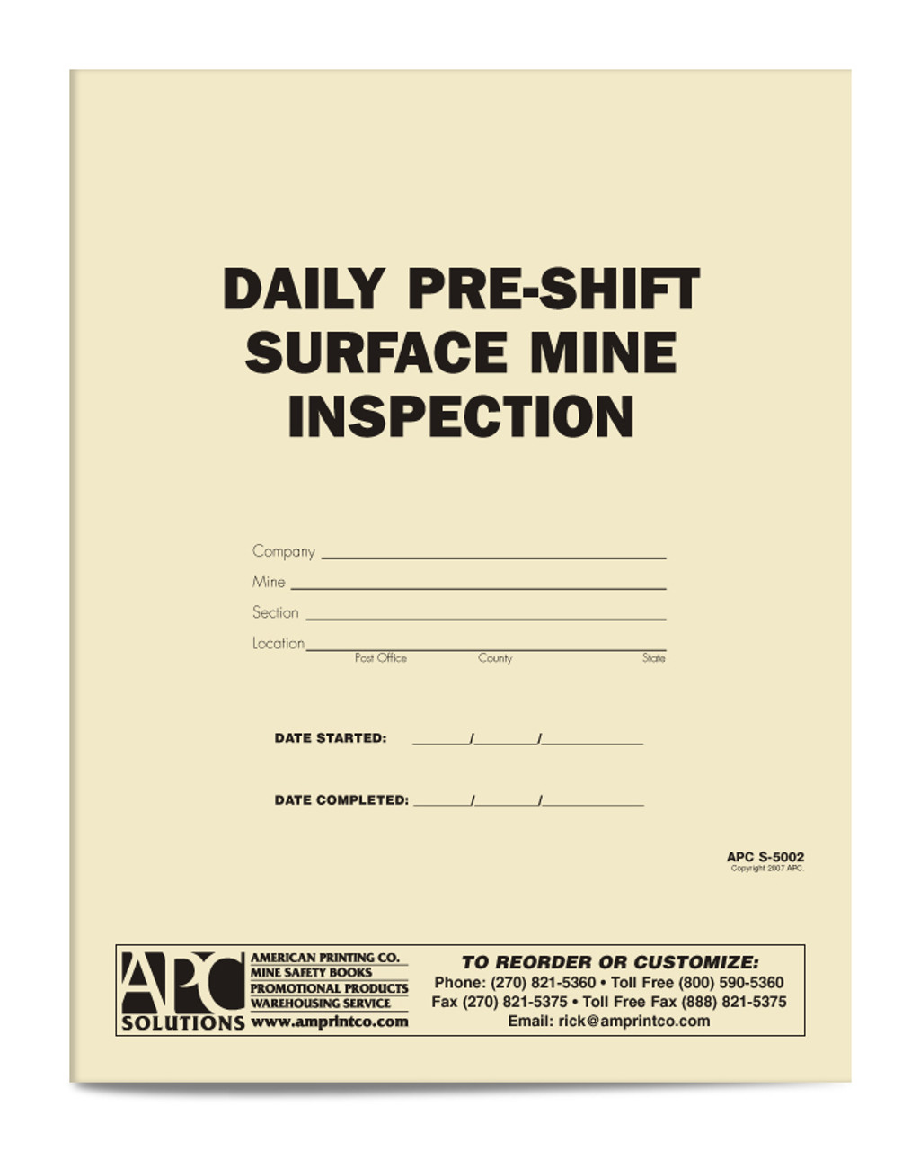 APC S-5002: Daily Pre-Shift Surface Mine Inspection