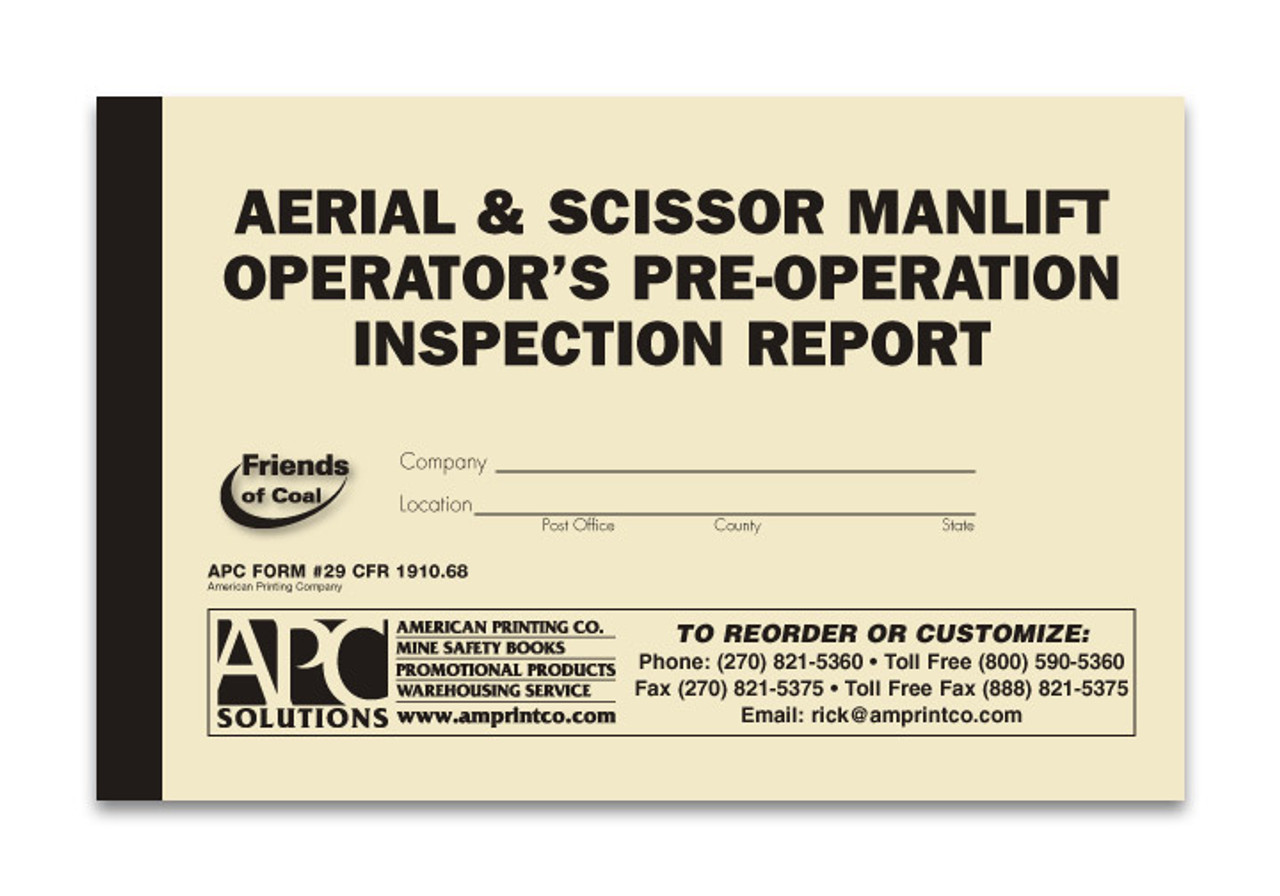 APC 29 CFR 1910.68: Aerial & Scissor Man-Lift Operator's Pre-Operation Inspection Report