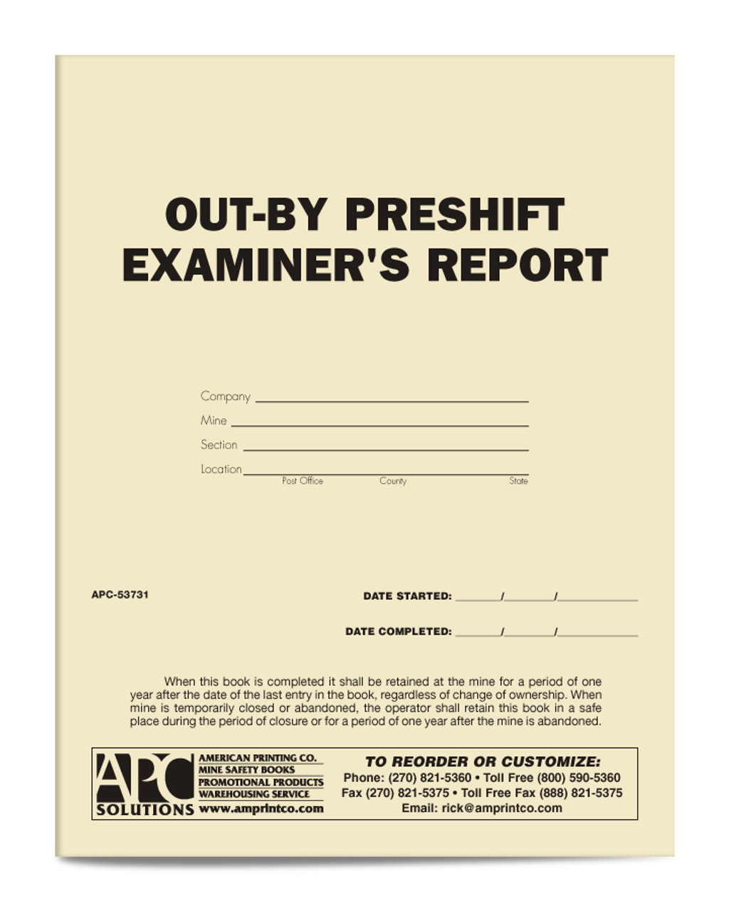 APC 53731: Out-by Pre-shift Examiner's Report