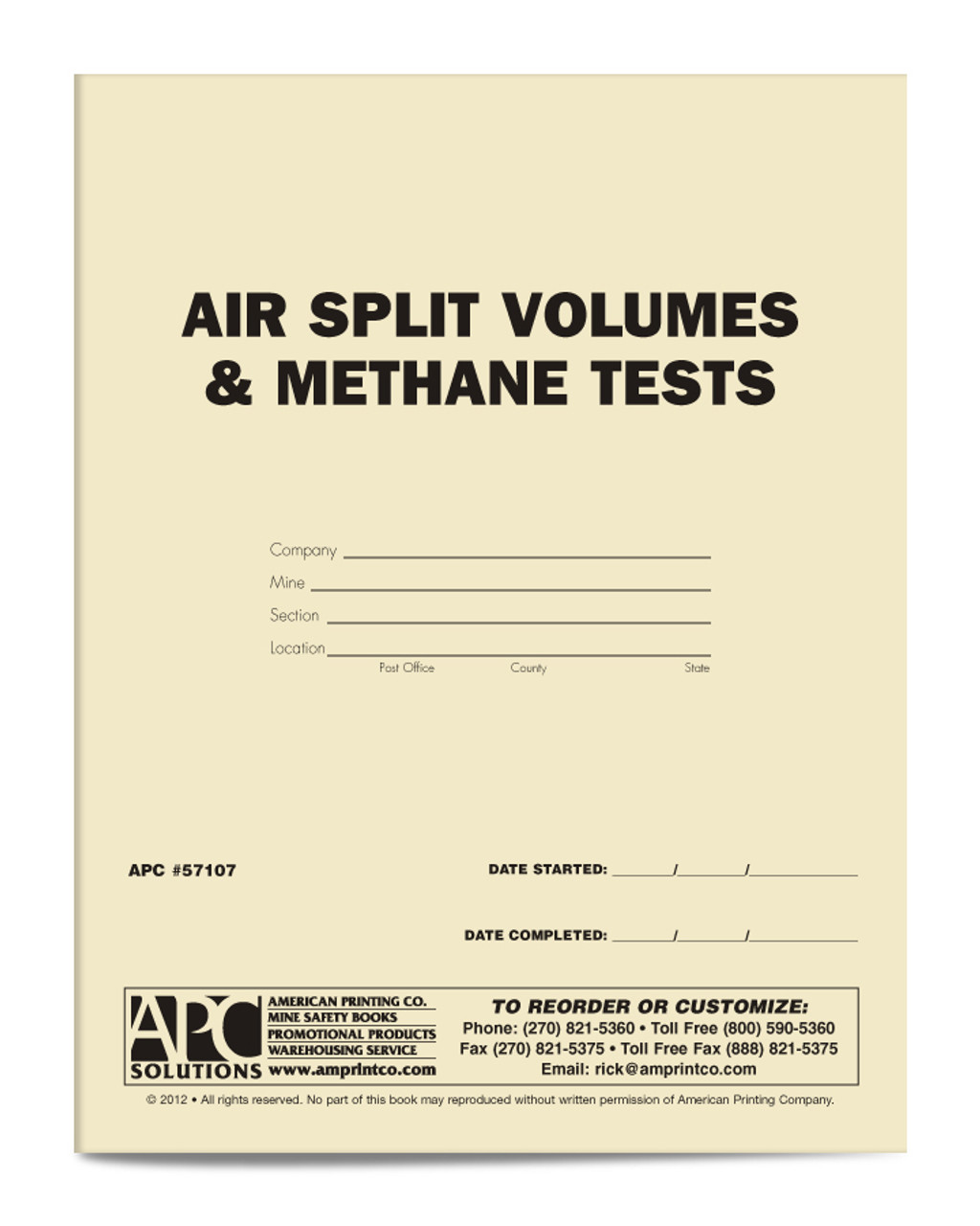 APC 57107: Air Split Volumes & Methane Tests