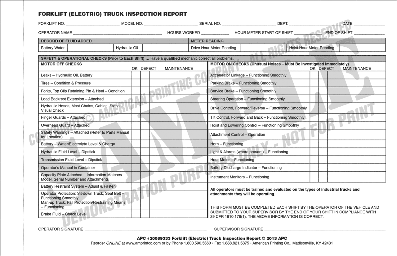 Electric Forklift Daily Inspection Checklist