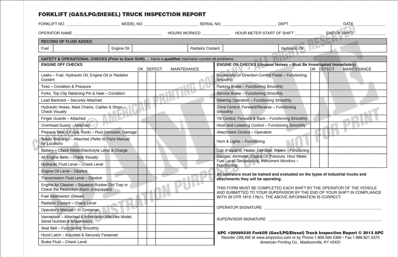 APC 20089335: Forklift (Gas/LPG/Diesel) Truck Operator's Pre-Operation Inspection Report