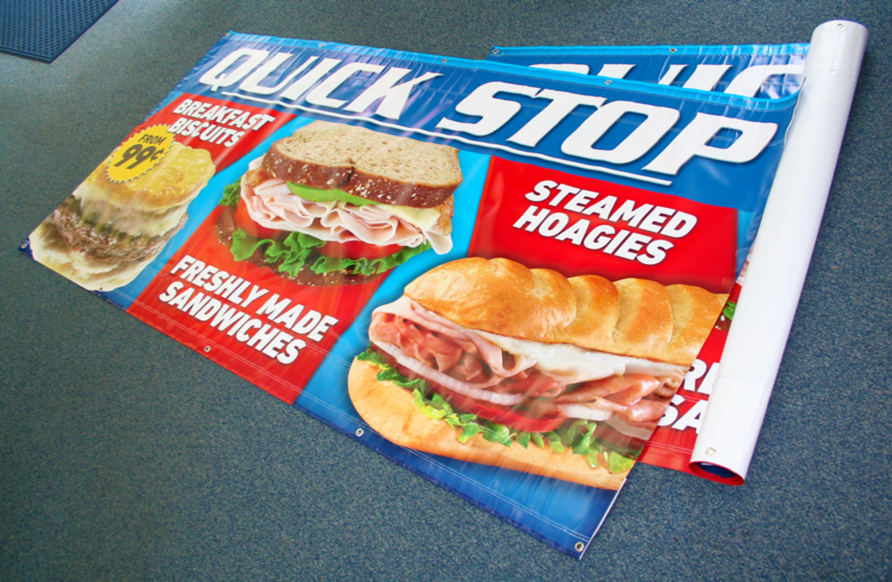 Standard sizes available from 2' x 3' to 5' x 8'. Custom sizes available as well –call APC at (800) 590-5360 for more information on custom sized banners.