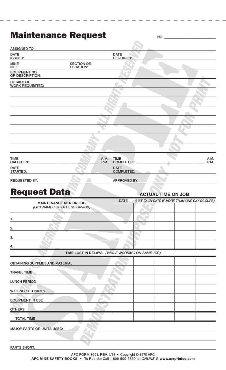 Sample of APC #3001 Form (Revised 01/2014)