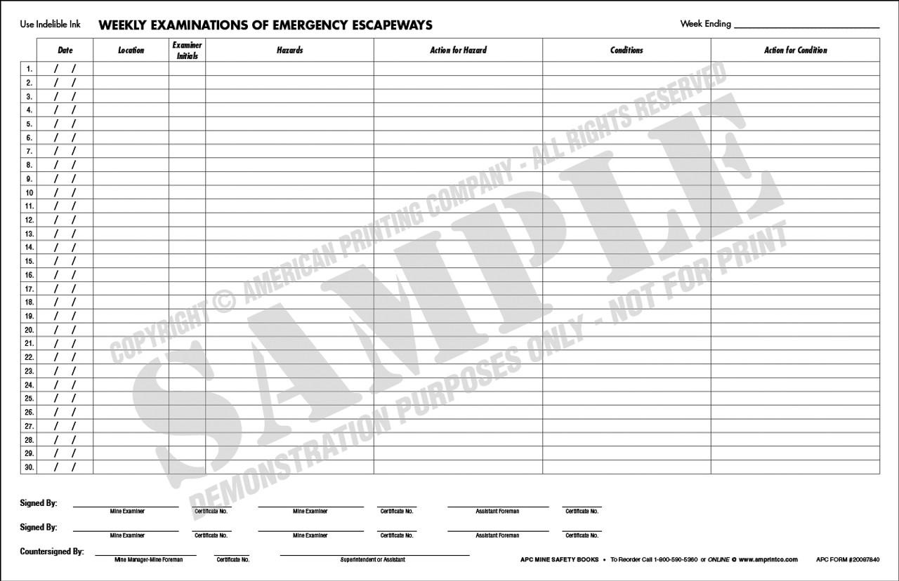 APC 20087840: Weekly Examinations of Emergency Escapeways